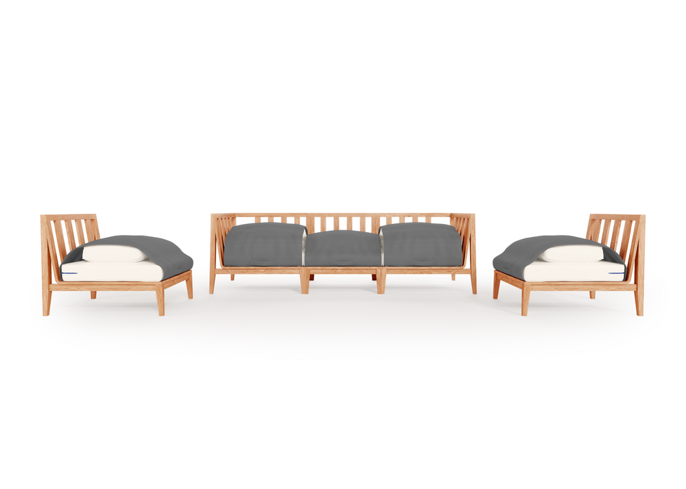 Teak Outdoor Sofa with Armless Chairs - 5 Seat