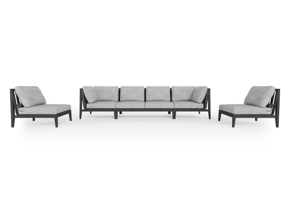 Aluminium Outdoor Sofa with Armless Chairs - 6 Seat
