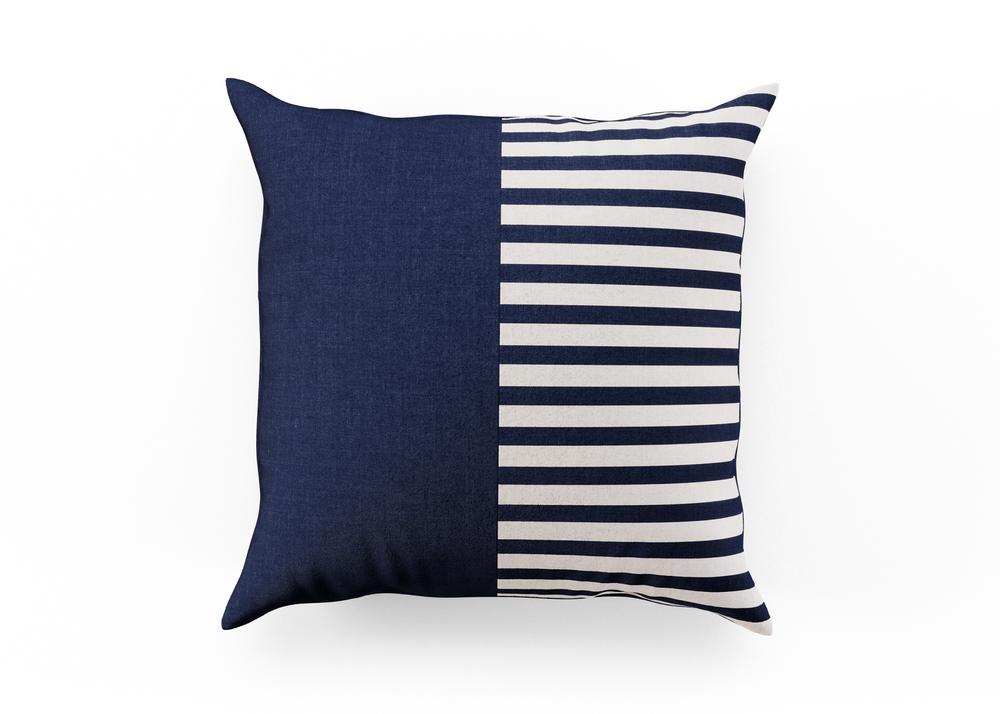 Outdoor Throw Pillow - Navy/Stripe Split