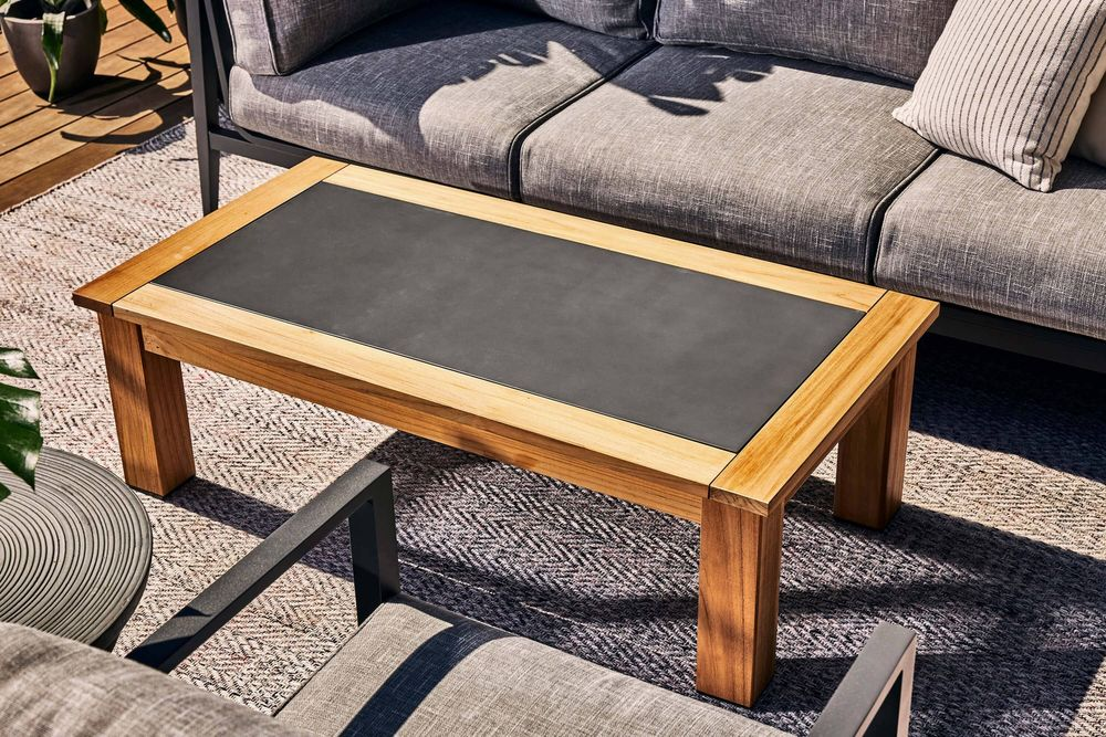 Teak Outdoor Coffee Table - Concrete Inlay