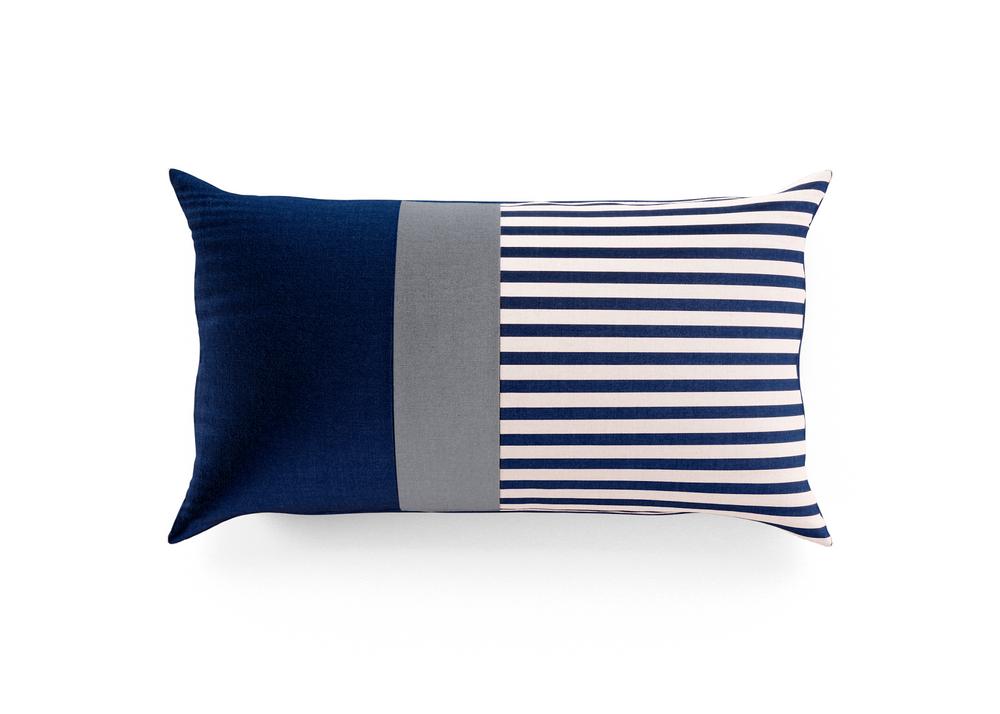 Outdoor Throw Pillow - Navy/Charcoal Lumbar