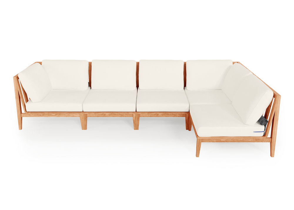 Teak Outdoor L Sectional - 5 Seat