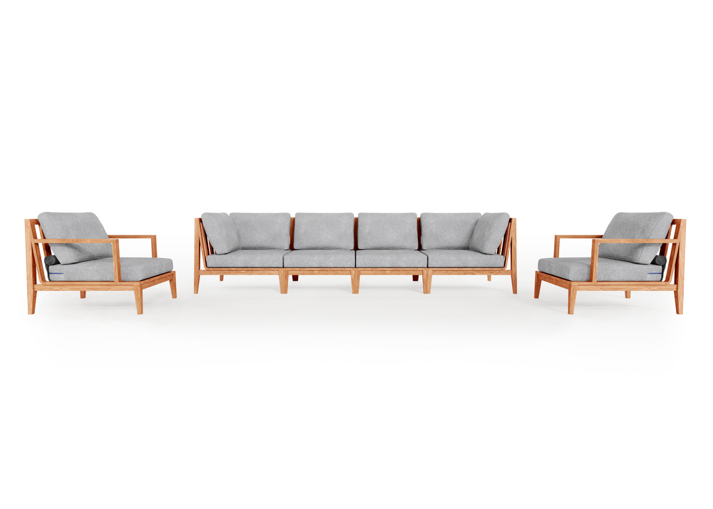 Teak Outdoor Sofa with Armchairs - 6 Seat