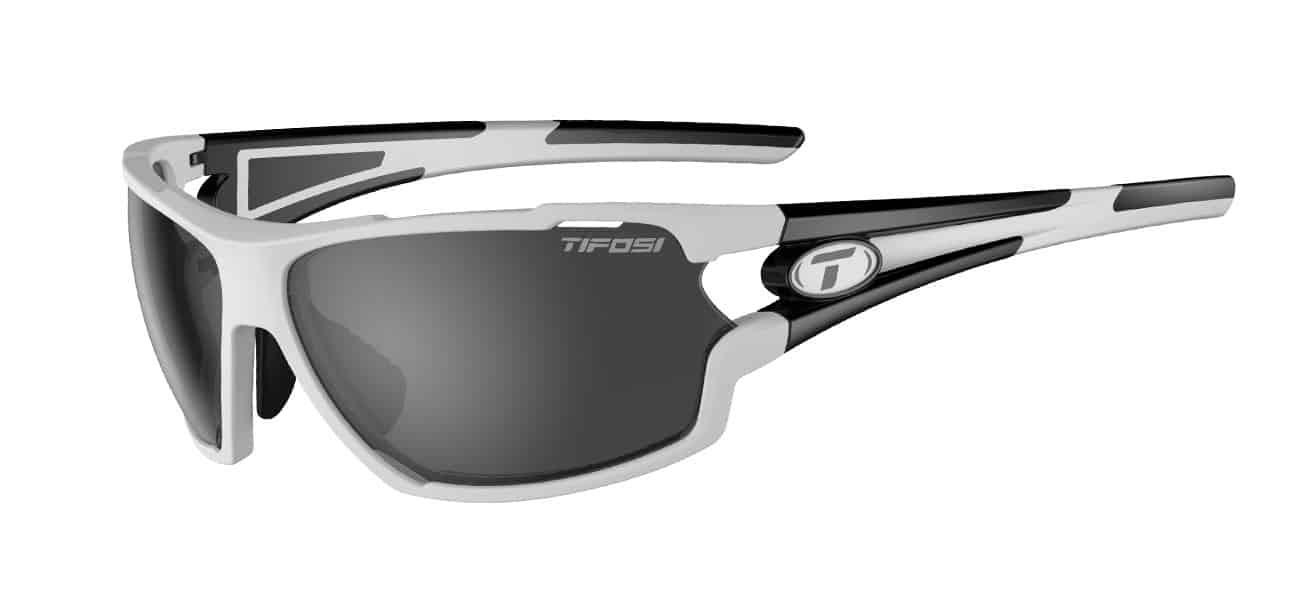 Tifosi Amok Sunglasses White/Black w/ Smoke/AC Red/Clear