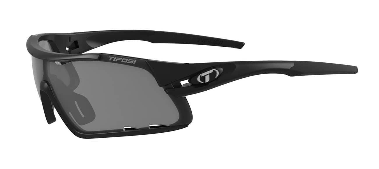Tifosi Davos Sunglasses Matte Black W/ Smoke/Ac Red/Clear