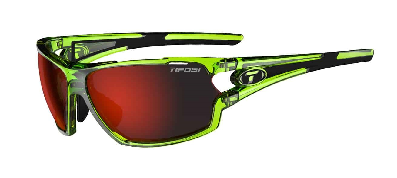 Tifosi Amok Sunglasses Crystal Neon Green w/ Clarion Red/AC Red/Clear