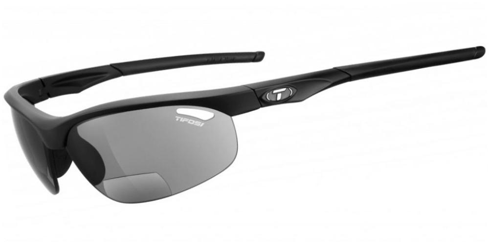 Tifosi Veloce Sunglasses Matte Black +2.5 W/ Smoke Reader +2.5 Lenses