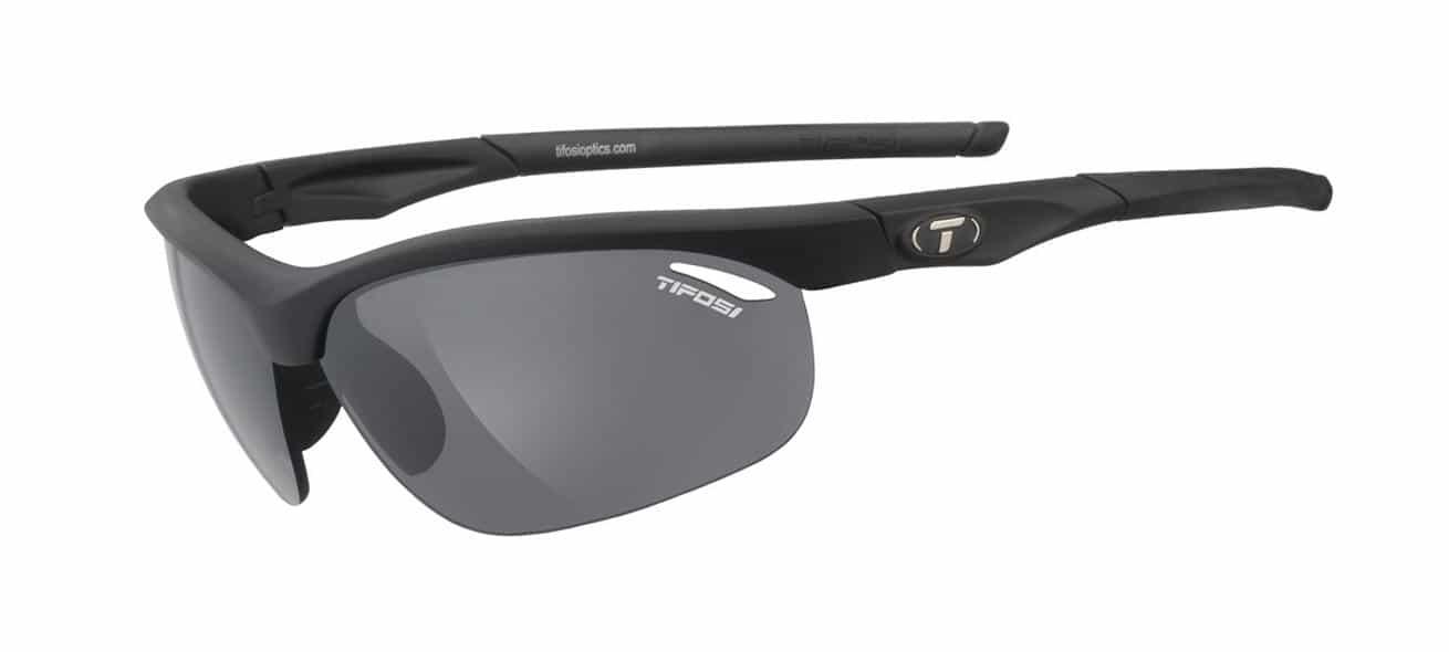 Tifosi Veloce Sunglasses Matte Black W/ Smoke/Ac Red/Clear Lenses
