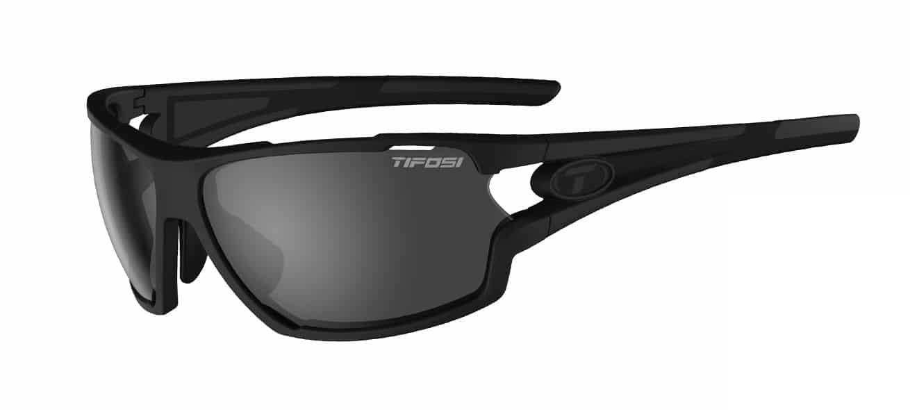 Tifosi Amok Sunglasses Matte Black W/ Smoke/Ac Red/Clear