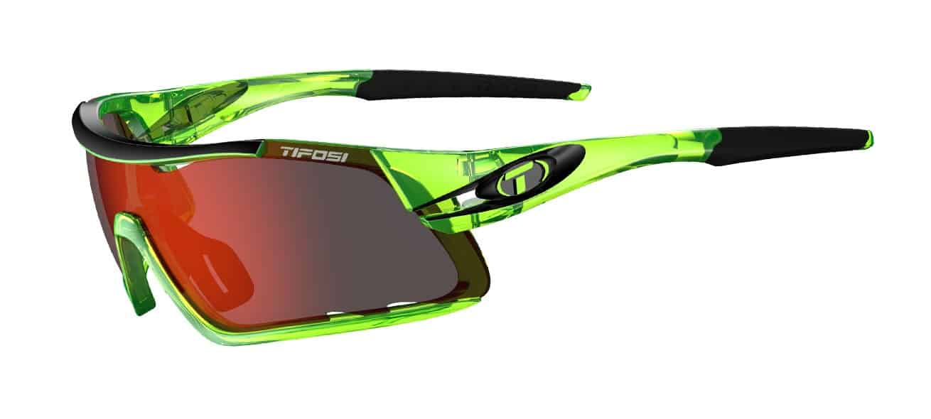 Tifosi Davos Sunglasses Crystal Neon Green w/ Clarion Red/AC Red/Clear