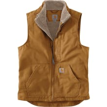 Men's Washed Duck Sherpa-lined Mock-neck Vest