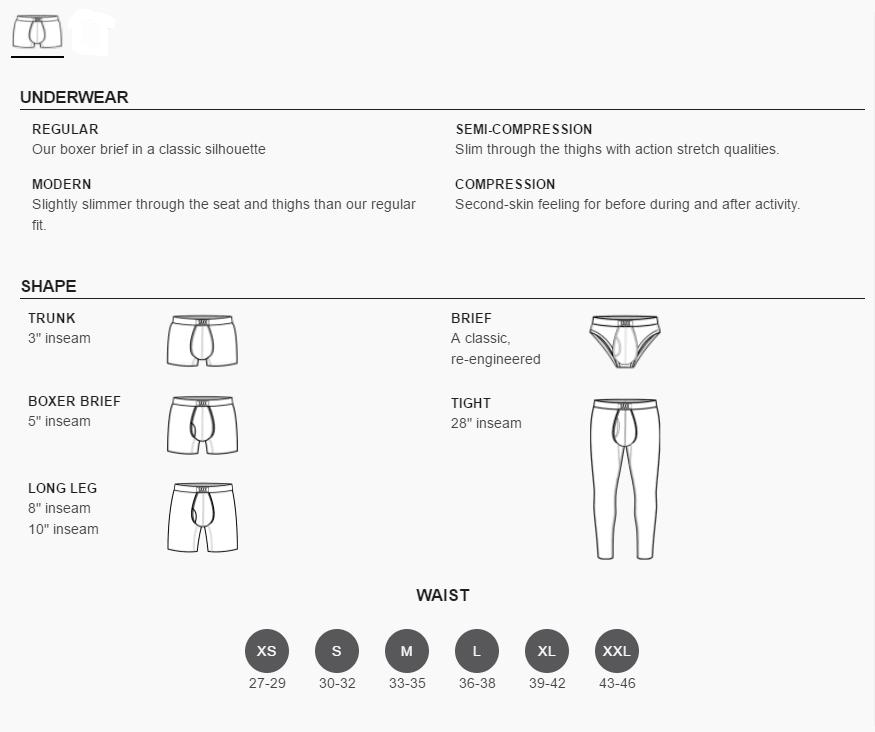 Saxx Underwear Sizing Chart