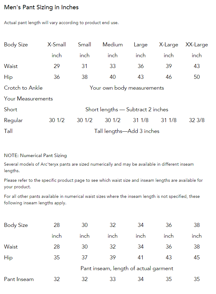 Men's Pants Sizing Chart
