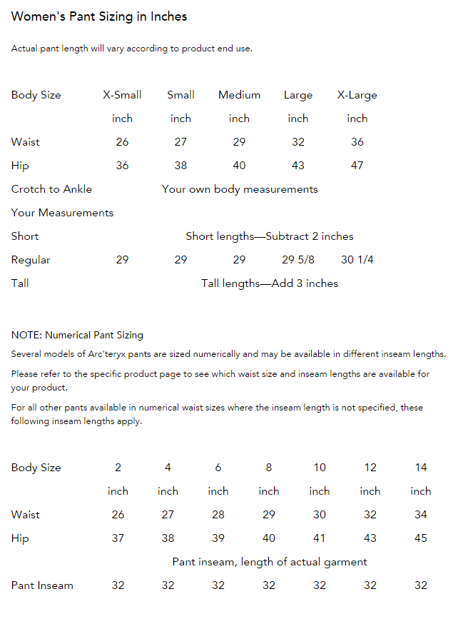 Women's Pants Sizing Chart