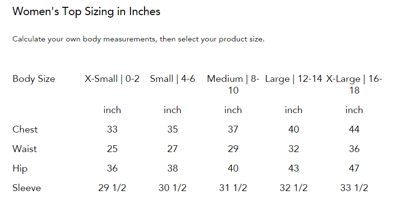 Women's Jackets & Shirts Sizing Chart