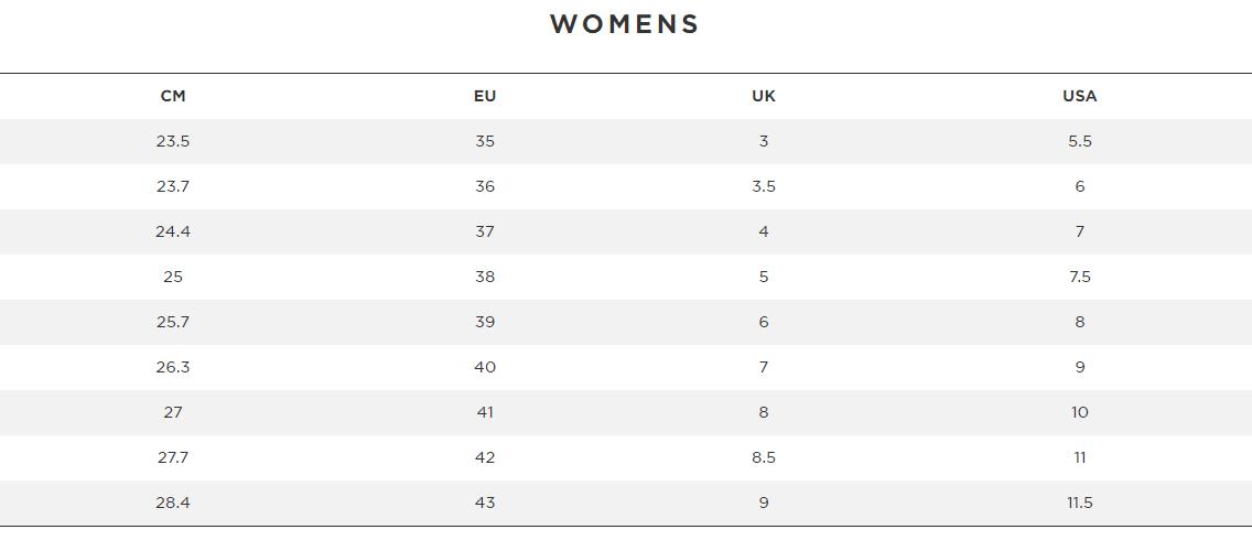 Women's Shoe Sizing Chart