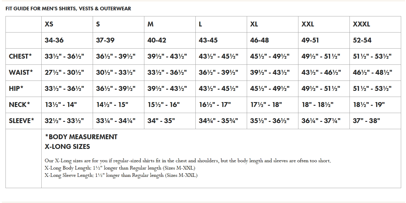Filson Men's Shirts & Outerwear Sizing Chart