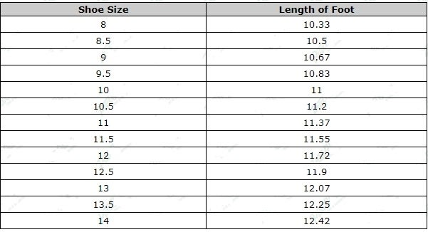 Mens Shoe Sizing Chart