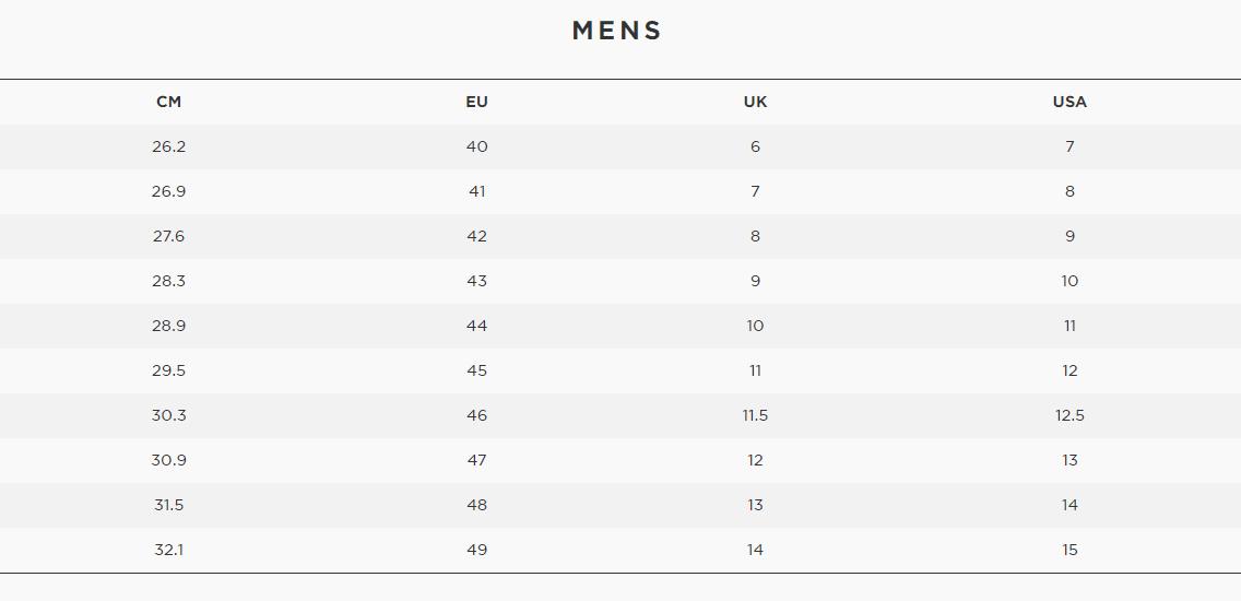 Men's Shoe Sizing Chart