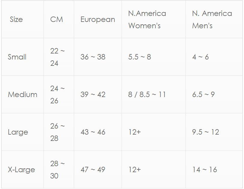 Dexshell Sizing Chart