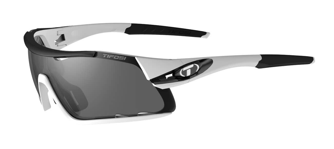 Tifosi Davos Sunglasses White/Black w/ Smoke/AC Red/Clear