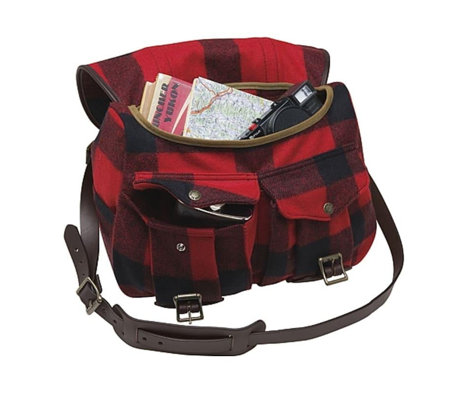 a8cecbc78f Filson 70103 Wool Medium Field Bag - Red   Black Plaid