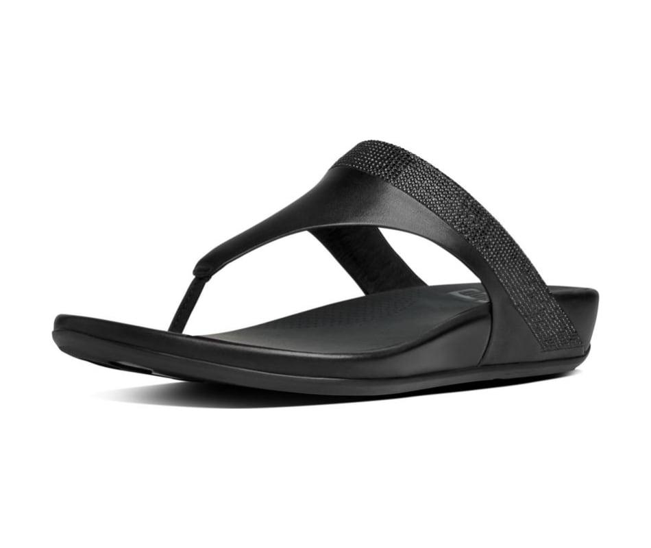 3e05ddd6f30 Fitflop Women s Banda Leather Toe-Thong Sandals - Crystal - Black - 6
