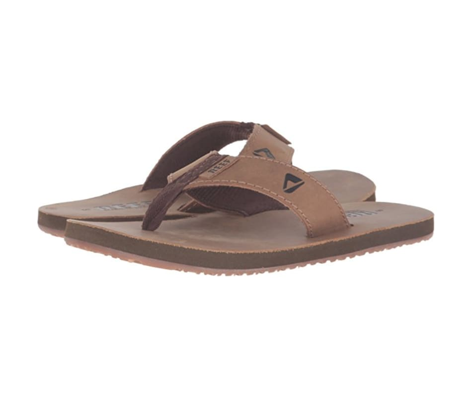 1ef843fcab34 Reef Sandals Men s Reef Leather Smoothy - Bronze Brown - 10