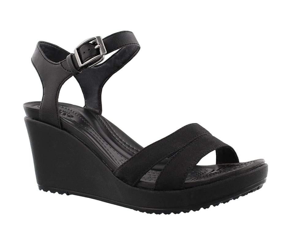 8a46ec1a27f6 Crocs Women s Leigh II Ankle Strap Wedge Black Black - W6