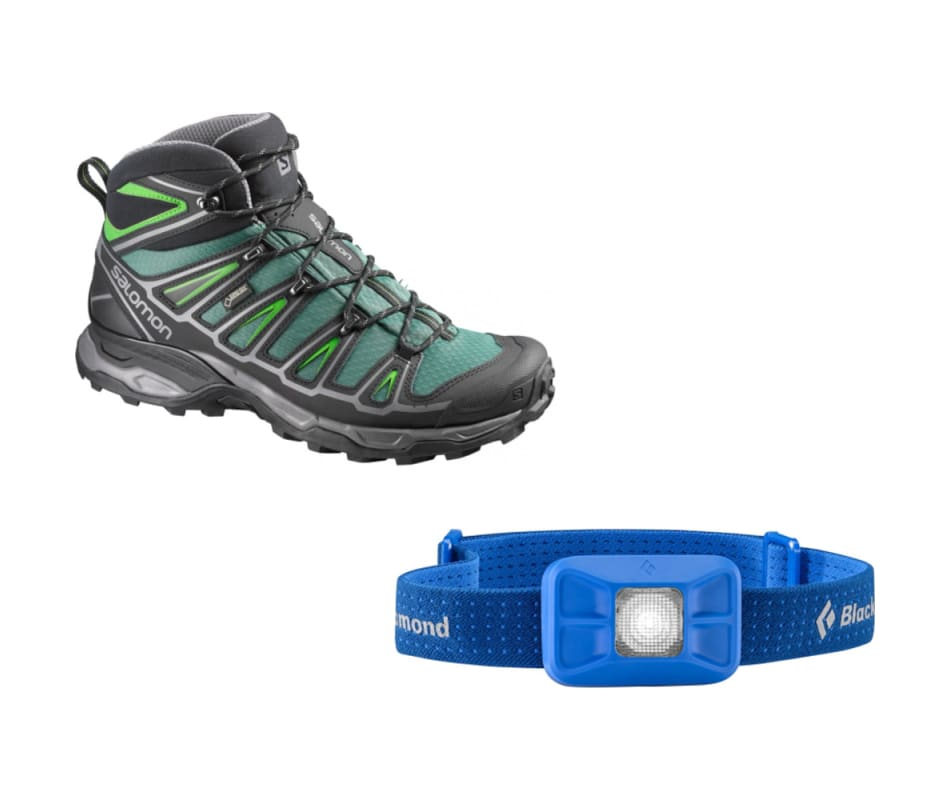 Salomon Men S X Ultra Mid 2 Gtx With Black Diamond Headlamp Beetle