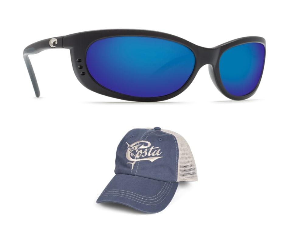 Costa Del Mar Fathom - With FREE Trucker Hat Black - Blue Mirror Glass ad8279d2e757
