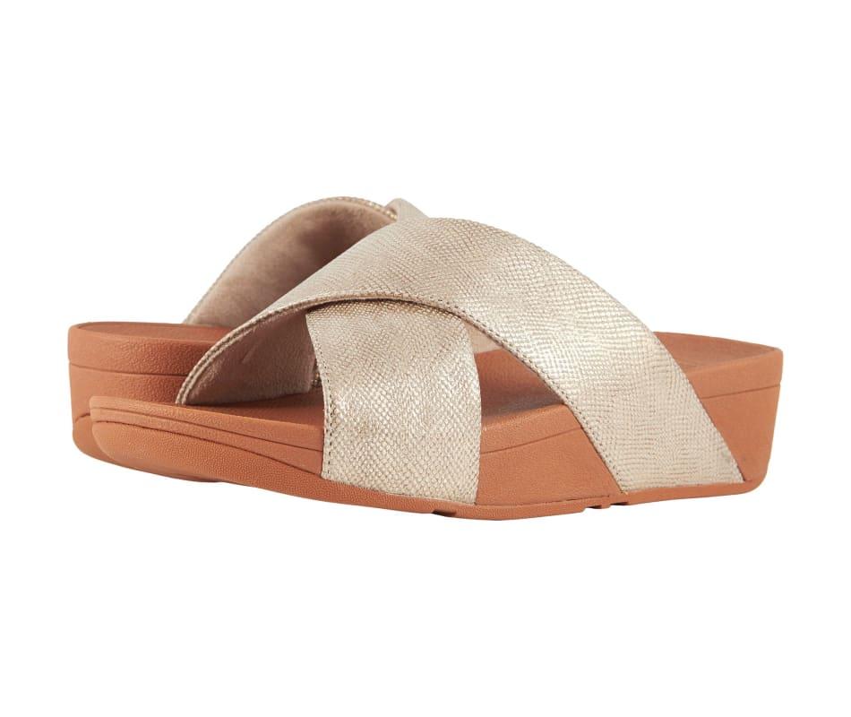 7a4a8334d8d5f Fitflop Women s Lulu Cross Slide Sandals - Shimmer-Print - Gold ...