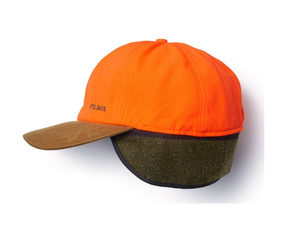 Filson 60074 Insulated Blaze Tin Cloth Cap Tan   Blaze Orange - SM d4e9decc6de