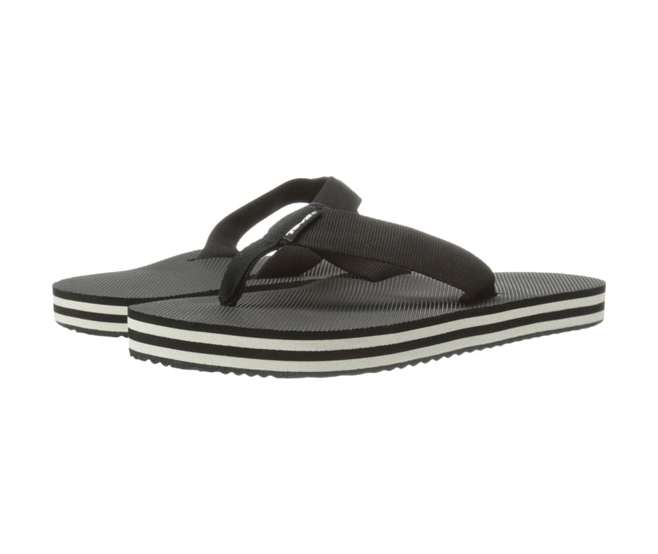 e0bdbbedef7000 Teva Women s Deckers Flip Sandal Black   White - 10