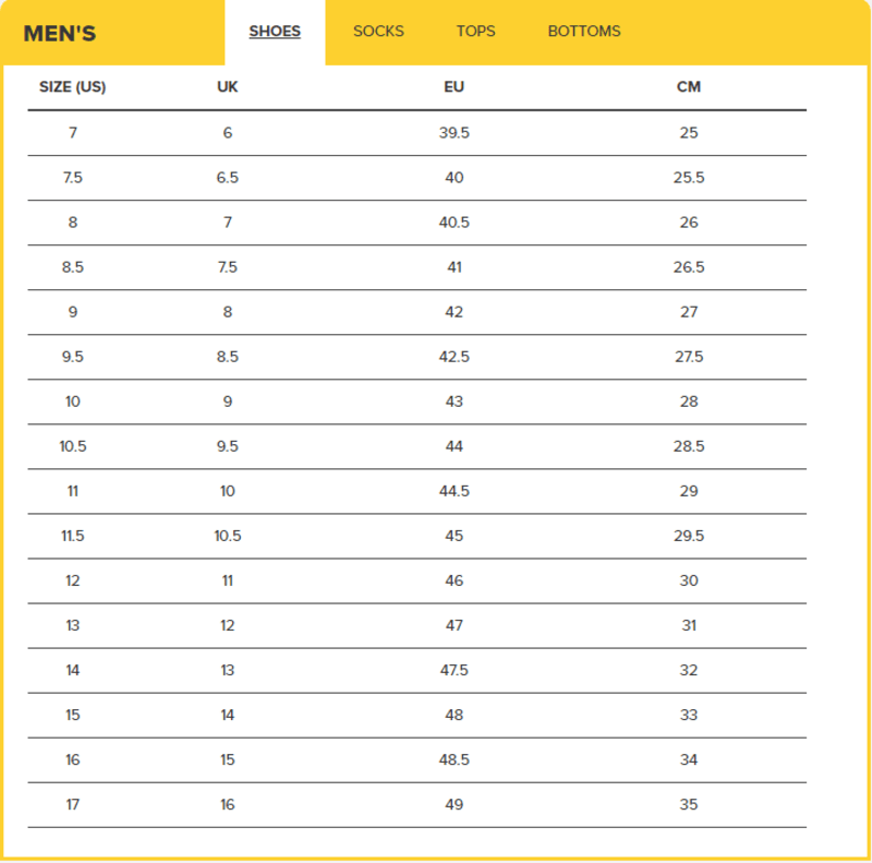 Keen Men's Sizing Chart