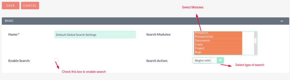Faster Global Search for SuiteCRM Selected Modules