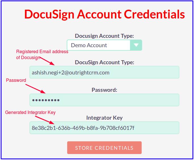 DocuSign Connector DocuSign Account Credentials