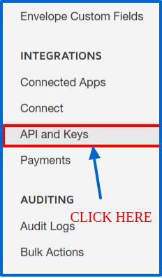 DocuSign Connector API And Keys