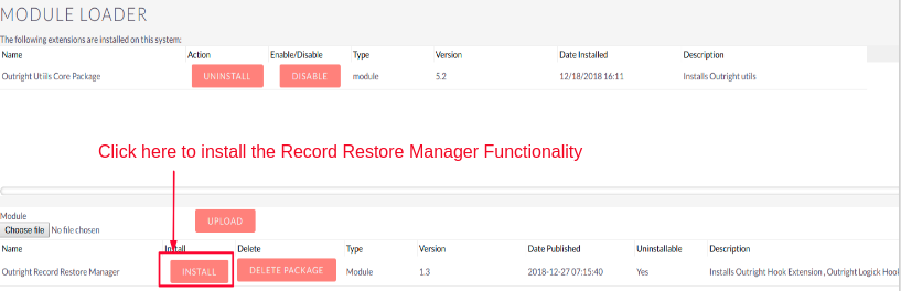 Record Restore Manager Upload