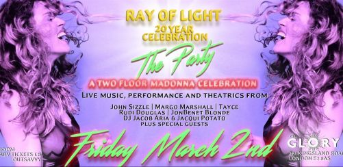 Advance tix - Ray of Light Tickets - The Madonna Party