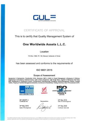 One Worldwide Assets LLC ISO Certificate