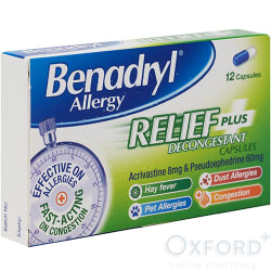 Benadryl Plus (Acrivastine + Pseudoephedrine) 12 Capsules