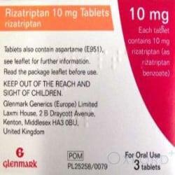 Rizatriptan 10mg 3 Tablets