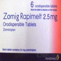 Zomig (Zolmitriptan) Rapimelt 2.5mg 6 Orodispersible Tablets