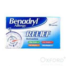 Benadryl Allergy Relief (Acrivastine) 12 Capsules