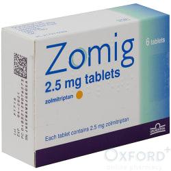 Zomig (Zolmitriptan) 2.5mg 6 Tablets