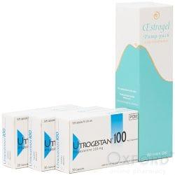 Oestrogel 80g + 90 Utrogestan Capsules 100mg Combo-Pack