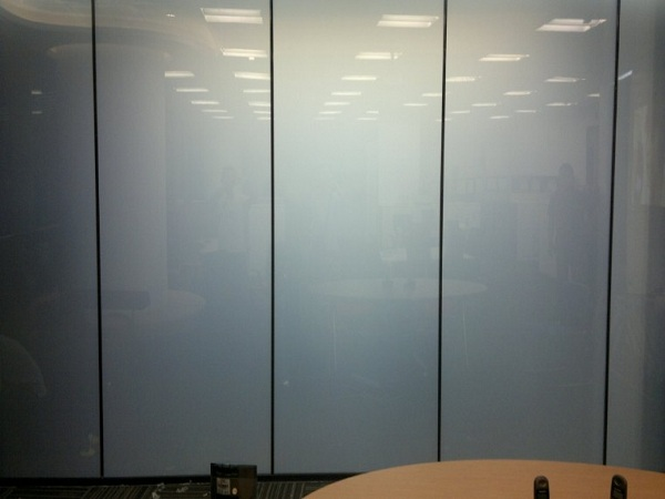 Smart glass office partition-off