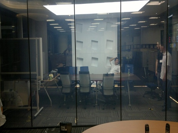 Smart glass office partition-on