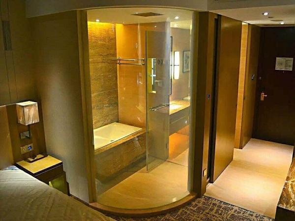 Smart glass hotel barthroom-on